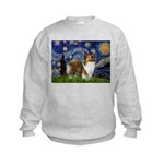 Starry / Sheltie (s&w) Kids Sweatshirt