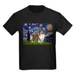 Starry / Sheltie (s&w) Kids Dark T-Shirt