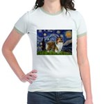 Starry / Sheltie (s&w) Jr. Ringer T-Shirt