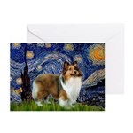 Starry / Sheltie (s&w) Greeting Cards (Pk of 10)