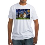 Starry / Sheltie (s&w) Fitted T-Shirt