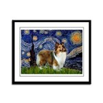 Starry / Sheltie (s&w) Framed Panel Print