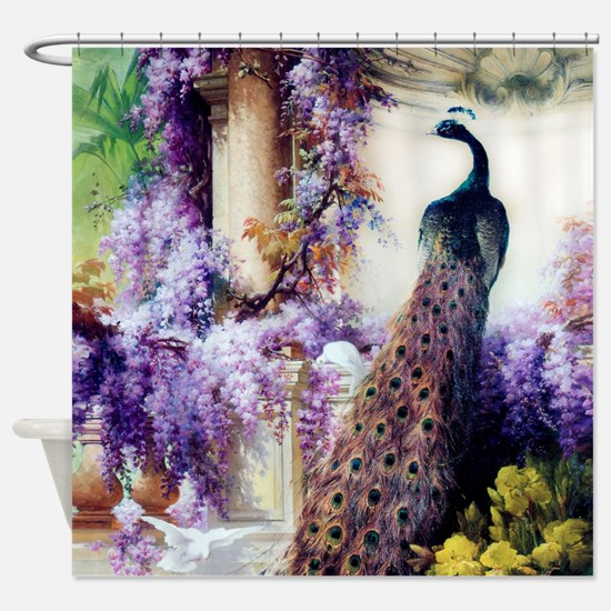 Bidau Peacock, Wisteria, Doves, Shower Curtain