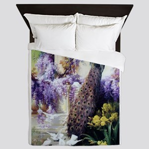 Bidau Peacock, Doves, Wisteria Queen Duvet