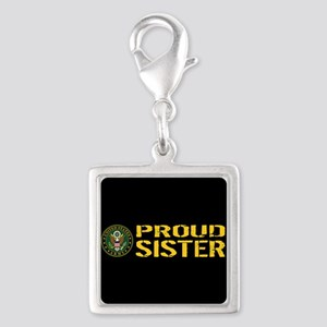 U.S. Army: Proud Sister (Blac Silver Square Charm