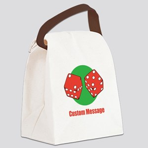 One Line Custom Dice Craps Design Canvas Lunch Bag