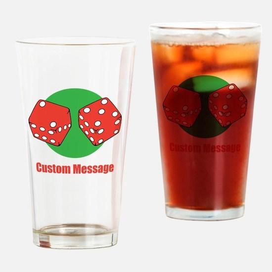One Line Custom Dice Craps Design Drinking Glass