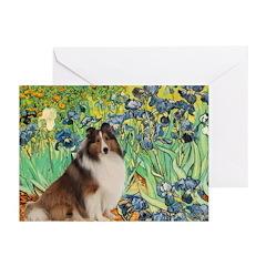 Irises / Sheltie Greeting Cards (Pk of 10)