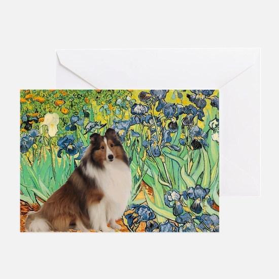 Irises / Sheltie Greeting Card