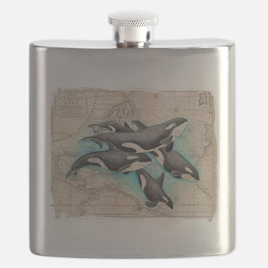 Orca Map Atlas Mirror Flask