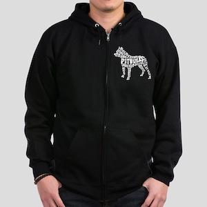 Pit Bull Word Art Zip Hoodie (dark)