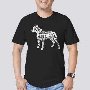 Pit Bull Word Art Men's Fitted T-Shirt (dark)