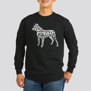 Pit Bull Word Art Long Sleeve Dark T-Shirt