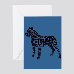 Pit Bull Word Art Greeting Card