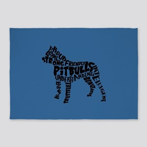 Pit Bull Word Art 5'x7'Area Rug