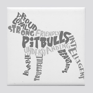 Pit Bull Word Art Greyscale Tile Coaster