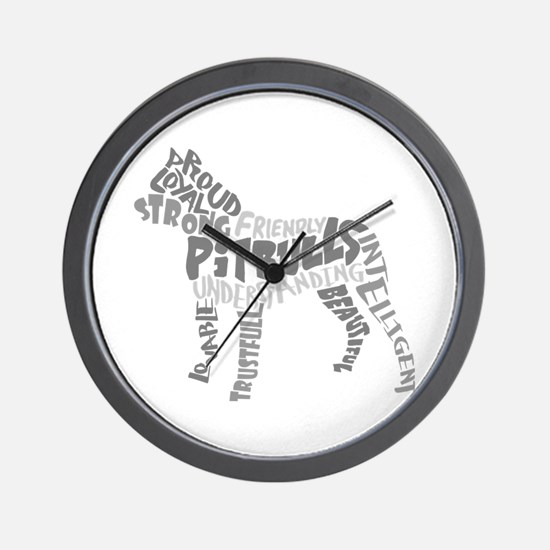 Pit Bull Word Art Greyscale Wall Clock