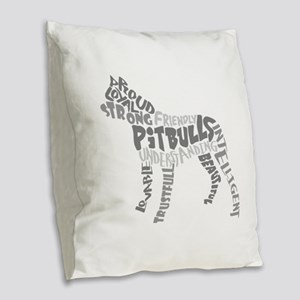 Pit Bull Word Art Greyscale Burlap Throw Pillow