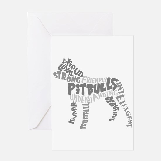 Pit Bull Word Art Greyscale Greeting Card