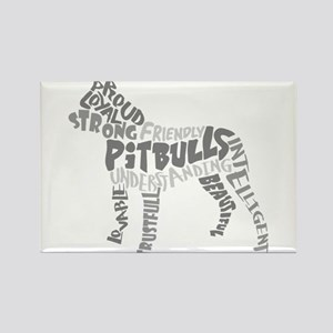 Pit Bull Word Art Greyscale Rectangle Magnet