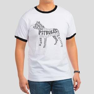 Pit Bull Word Art Greyscale Ringer T