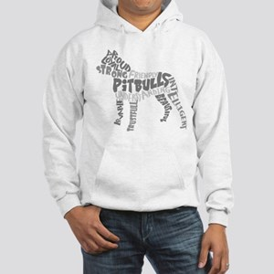 Pit Bull Word Art Greyscale Hooded Sweatshirt