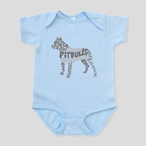 Pit Bull Word Art Greyscale Infant Bodysuit