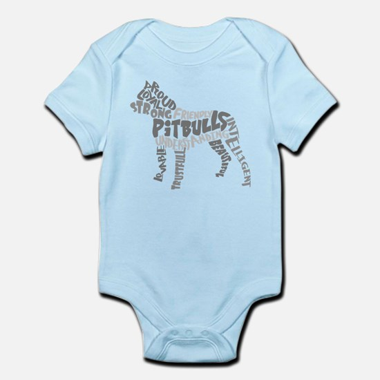 Pit Bull Word Art Greyscale Infant Bodysuit