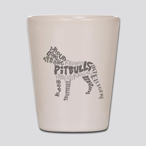 Pit Bull Word Art Greyscale Shot Glass