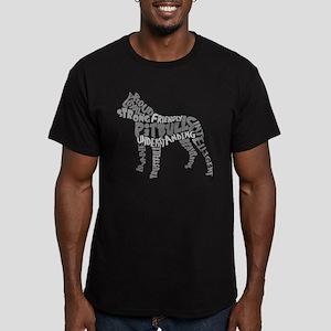 Pit Bull Word Art Grey Men's Fitted T-Shirt (dark)