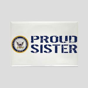 U.S. Navy: Proud Sister (Blue & W Rectangle Magnet