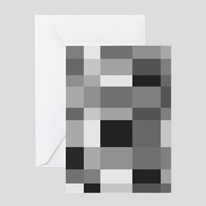 Grayscale Check Greeting Cards