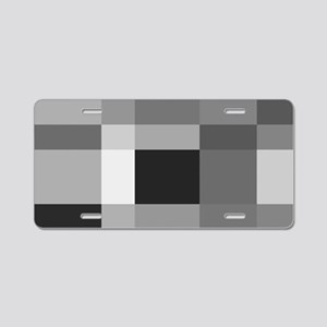 Grayscale Check Aluminum License Plate