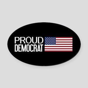 Democrat: Proud Democrat & America Oval Car Magnet