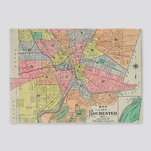 Vintage Map of Rochester NY (1901) 5'x7'Area Rug