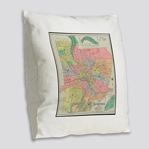 Vintage Map of Rochester NY (1 Burlap Throw Pillow