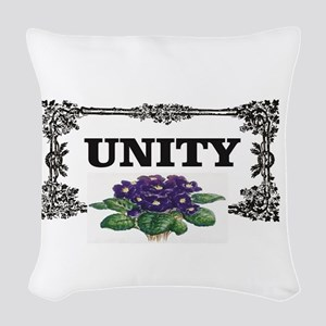 unity flowers black and white Woven Throw Pillow