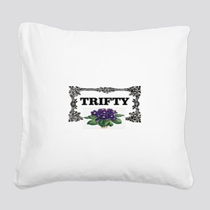 thrifty purple flowers Square Canvas Pillow