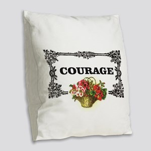 red courage in a frame Burlap Throw Pillow