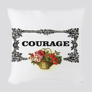 red courage in a frame Woven Throw Pillow