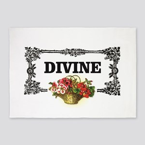 divine flowers art 5'x7'Area Rug