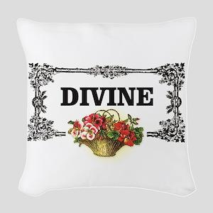 divine flowers art Woven Throw Pillow