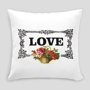 love flower basket box Everyday Pillow