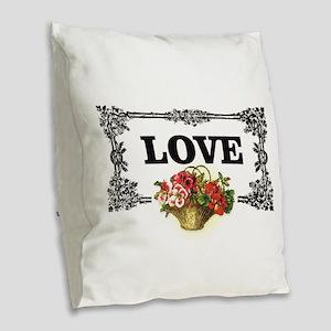 love flower basket box Burlap Throw Pillow