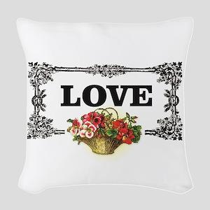 love flower basket box Woven Throw Pillow