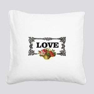 love flower basket box Square Canvas Pillow