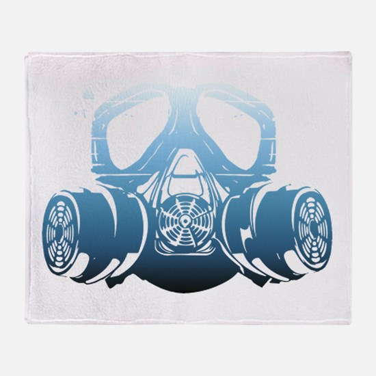 Toxic Blue Spray Paint Gas Mask Throw Blanket!