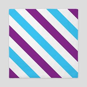 Diagonal Stripes: Blue & Purple Queen Duvet