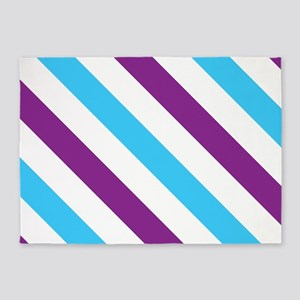 Diagonal Stripes: Blue & Purple 5'x7'Area Rug