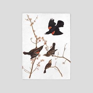 Red-Winged Starling Vintage Audubon 5'x7'Area Rug
